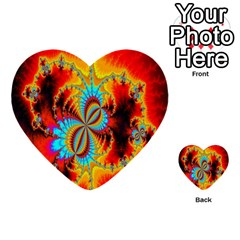 Crazy Mandelbrot Fractal Red Yellow Turquoise Multi Purpose Cards (heart)  by EDDArt
