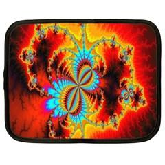 Crazy Mandelbrot Fractal Red Yellow Turquoise Netbook Case (large) by EDDArt
