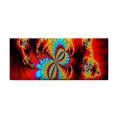 Crazy Mandelbrot Fractal Red Yellow Turquoise Hand Towel by EDDArt
