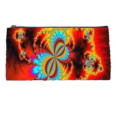 Crazy Mandelbrot Fractal Red Yellow Turquoise Pencil Cases by EDDArt
