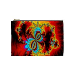 Crazy Mandelbrot Fractal Red Yellow Turquoise Cosmetic Bag (medium)  by EDDArt
