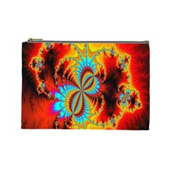 Crazy Mandelbrot Fractal Red Yellow Turquoise Cosmetic Bag (large)  by EDDArt
