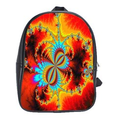 Crazy Mandelbrot Fractal Red Yellow Turquoise School Bags(large)  by EDDArt