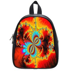 Crazy Mandelbrot Fractal Red Yellow Turquoise School Bags (small)  by EDDArt