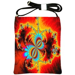Crazy Mandelbrot Fractal Red Yellow Turquoise Shoulder Sling Bags by EDDArt
