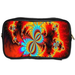 Crazy Mandelbrot Fractal Red Yellow Turquoise Toiletries Bags 2 Side by EDDArt