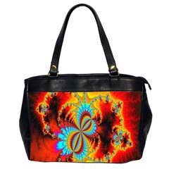 Crazy Mandelbrot Fractal Red Yellow Turquoise Office Handbags (2 Sides)  by EDDArt
