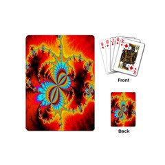 Crazy Mandelbrot Fractal Red Yellow Turquoise Playing Cards (mini)  by EDDArt