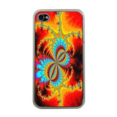 Crazy Mandelbrot Fractal Red Yellow Turquoise Apple Iphone 4 Case (clear) by EDDArt