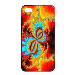 Crazy Mandelbrot Fractal Red Yellow Turquoise Apple Iphone 4/4s Seamless Case (black) by EDDArt