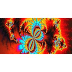 Crazy Mandelbrot Fractal Red Yellow Turquoise You Are Invited 3d Greeting Card (8x4) by EDDArt