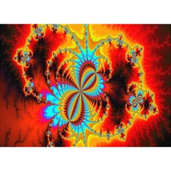 Crazy Mandelbrot Fractal Red Yellow Turquoise Birthday Cake 3d Greeting Card (7x5) by EDDArt