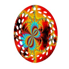 Crazy Mandelbrot Fractal Red Yellow Turquoise Oval Filigree Ornament (2 Side)  by EDDArt