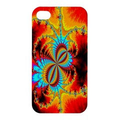 Crazy Mandelbrot Fractal Red Yellow Turquoise Apple Iphone 4/4s Hardshell Case by EDDArt