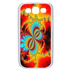 Crazy Mandelbrot Fractal Red Yellow Turquoise Samsung Galaxy S III Case (White)