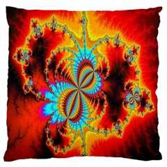 Crazy Mandelbrot Fractal Red Yellow Turquoise Large Cushion Case (one Side) by EDDArt