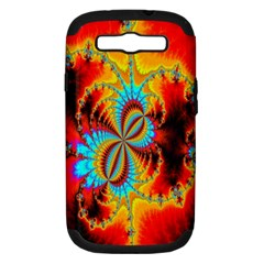 Crazy Mandelbrot Fractal Red Yellow Turquoise Samsung Galaxy S Iii Hardshell Case (pc+silicone) by EDDArt