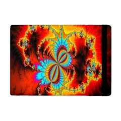 Crazy Mandelbrot Fractal Red Yellow Turquoise Apple Ipad Mini Flip Case by EDDArt