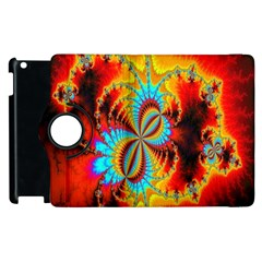 Crazy Mandelbrot Fractal Red Yellow Turquoise Apple Ipad 3/4 Flip 360 Case by EDDArt