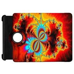 Crazy Mandelbrot Fractal Red Yellow Turquoise Kindle Fire Hd Flip 360 Case by EDDArt