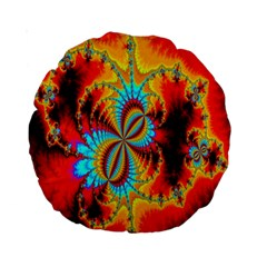 Crazy Mandelbrot Fractal Red Yellow Turquoise Standard 15  Premium Round Cushions by EDDArt