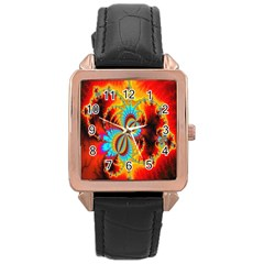Crazy Mandelbrot Fractal Red Yellow Turquoise Rose Gold Leather Watch  by EDDArt