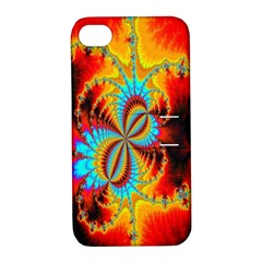 Crazy Mandelbrot Fractal Red Yellow Turquoise Apple Iphone 4/4s Hardshell Case With Stand by EDDArt
