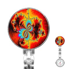 Crazy Mandelbrot Fractal Red Yellow Turquoise Stainless Steel Nurses Watch by EDDArt