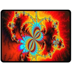 Crazy Mandelbrot Fractal Red Yellow Turquoise Double Sided Fleece Blanket (large)  by EDDArt