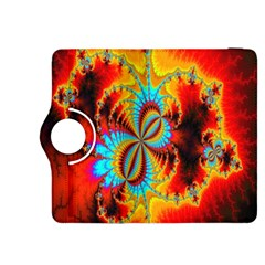 Crazy Mandelbrot Fractal Red Yellow Turquoise Kindle Fire Hdx 8 9  Flip 360 Case by EDDArt