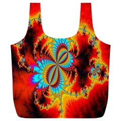 Crazy Mandelbrot Fractal Red Yellow Turquoise Full Print Recycle Bags (l)  by EDDArt