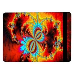 Crazy Mandelbrot Fractal Red Yellow Turquoise Samsung Galaxy Tab Pro 12 2  Flip Case by EDDArt