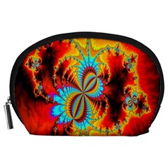 Crazy Mandelbrot Fractal Red Yellow Turquoise Accessory Pouches (large)  by EDDArt