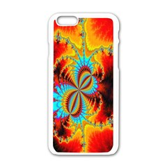 Crazy Mandelbrot Fractal Red Yellow Turquoise Apple Iphone 6/6s White Enamel Case by EDDArt