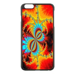 Crazy Mandelbrot Fractal Red Yellow Turquoise Apple Iphone 6 Plus/6s Plus Black Enamel Case by EDDArt