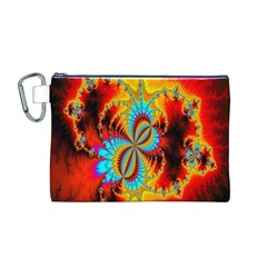 Crazy Mandelbrot Fractal Red Yellow Turquoise Canvas Cosmetic Bag (m) by EDDArt