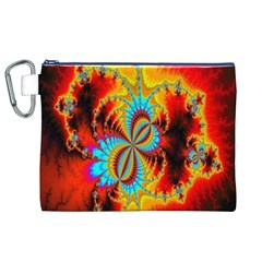 Crazy Mandelbrot Fractal Red Yellow Turquoise Canvas Cosmetic Bag (xl) by EDDArt