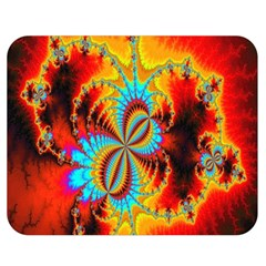 Crazy Mandelbrot Fractal Red Yellow Turquoise Double Sided Flano Blanket (medium)  by EDDArt