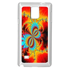 Crazy Mandelbrot Fractal Red Yellow Turquoise Samsung Galaxy Note 4 Case (white) by EDDArt
