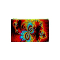 Crazy Mandelbrot Fractal Red Yellow Turquoise Cosmetic Bag (xs) by EDDArt