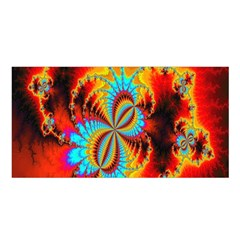 Crazy Mandelbrot Fractal Red Yellow Turquoise Satin Shawl by EDDArt