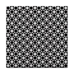 Modern Dots In Squares Mosaic Black White Tile Coasters by EDDArt