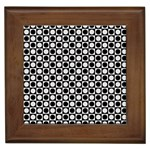 Modern Dots In Squares Mosaic Black White Framed Tiles
