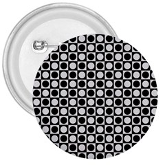Modern Dots In Squares Mosaic Black White 3  Buttons by EDDArt