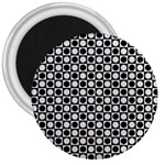 Modern Dots In Squares Mosaic Black White 3  Magnets