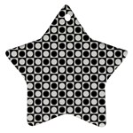 Modern Dots In Squares Mosaic Black White Ornament (Star)