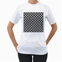 Modern Dots In Squares Mosaic Black White Women s T Shirt (white) (two Sided) by EDDArt