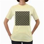 Modern Dots In Squares Mosaic Black White Women s Yellow T-Shirt