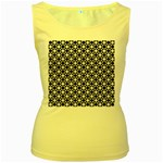 Modern Dots In Squares Mosaic Black White Women s Yellow Tank Top