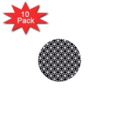 Modern Dots In Squares Mosaic Black White 1  Mini Buttons (10 Pack)  by EDDArt